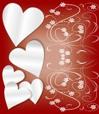 Valentine day background with paper hearts and art deco patterns Stock Photos