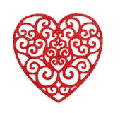 Valentine day background, patterned wooden heart isolated Royalty Free Stock Image