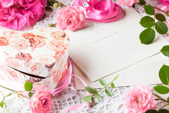 Valentine day background, pink roses, gift box, vintage post card Stock Photos