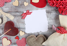 Valentine Day background with ragged paper sheet Royalty Free Stock Images