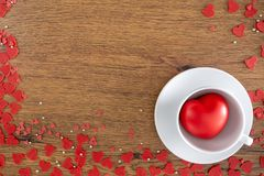 Valentine Day background with red hearts, gifts red heart stock photo