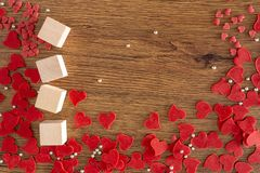 Valentine Day background with red hearts, gifts red heart royalty free stock image