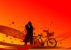 Valentine day background. Valentine's Day background with a kissing couple silhouette, heart shaped tree Stock Photography