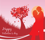 Valentine day background. Valentine's Day background with a kissing couple silhouette, heart shaped tree Stock Photos