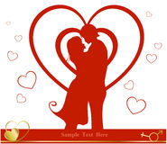 Valentine day background. Valentine's Day background with a kissing couple silhouette, heart shaped tree Stock Photo