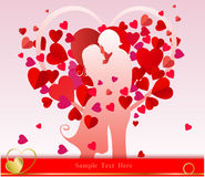 Valentine day background. Valentine's Day background with a kissing couple silhouette, heart shaped tree Royalty Free Stock Photo