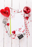 Valentine day baking concept with copy space Royalty Free Stock Photos