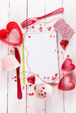 Valentine day baking concept with recipe book Royalty Free Stock Image