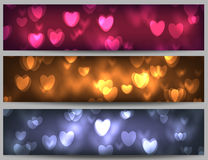 Valentine day banners. 3 Abstract bokeh banners with hearts, Valentine day illustration Stock Photo