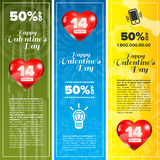 Valentine day banners set Royalty Free Stock Photo