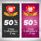 Valentine day banners set Royalty Free Stock Photos