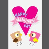 Valentine day beautiful card with couple birds Royalty Free Stock Image