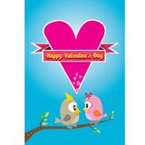 Valentine day beautiful card with couple birds Royalty Free Stock Photo