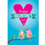 Valentine day beautiful card with couple birds Royalty Free Stock Images