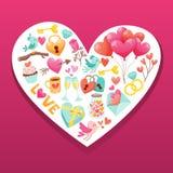 Valentine Day beståndsdelar på vitbokhjärta Royaltyfria Bilder