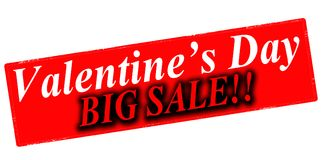 Valentine day big sale. Rubber stamp with text happy Valentine day sale inside,  illustration Royalty Free Stock Image