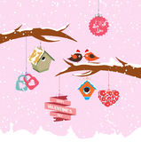 Valentine day birdhouse for winter Royalty Free Stock Images