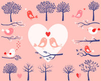 Valentine day birds, trees and branches Stock Image