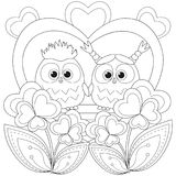 Valentine day black and white poster with an owl couple. Royalty Free Stock Photos
