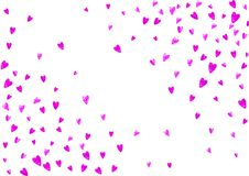 Valentine background with pink glitter hearts. February 14th day. Vector confetti for valentine background template. Valentine day border with pink glitter Royalty Free Stock Photos