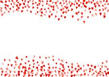 Valentine background with pink glitter hearts. February 14th day. Vector confetti for valentine background template. Valentine day border with red glitter Stock Images