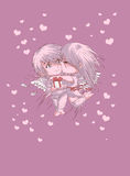 Valentine day boy and girl pink postcard Royalty Free Stock Photo