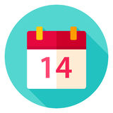 Valentine Day Calendar Circle Icon Images libres de droits
