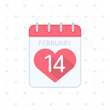 Valentine day calendar with heart. Calendar icon 14 February Valentines Day. Tear-off calendar sign with pink heart. Love concept. Vector illustration in flat stock illustration
