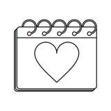 Valentine day calendar love heart date outline Stock Photos