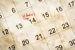 Valentine day on calendar Royalty Free Stock Images