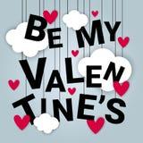 Valentine Day Card Background Concept mit Papier-Schnitt-Wolken-und Herz-Formen Stockfoto