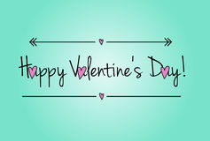 Valentine day card. With cartoon pink hearts on mint background, modern romantic vector Stock Photo