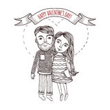 Valentine day card with cartoon style boy and girl Stock Images