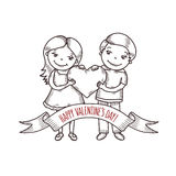 Valentine day card with cartoon style boy and girl Stock Photography