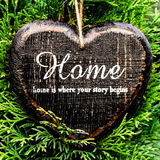 Valentine day card concept. Heart shaped decor sign desk Home co Stock Photography