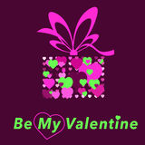 Valentine day card. Congratulation gift a present flat style illustration of hearts bow pink green burgundy Royalty Free Stock Images