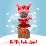 Valentine Day card of cute owl bird with heart. Valentine Day card of cute owl with heart. Owl bird in knitted red hat and scarf sits on snowy tree stump with stock illustration