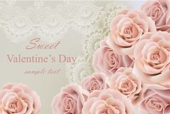 Valentine day Card with delicate roses and lace Vector vector illustration