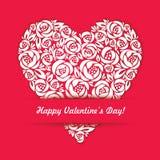 Valentine Day Card felice con cuore floreale sul  Fotografia Stock Libera da Diritti