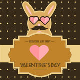 Valentine day card with funny cute mustached bunny character. Rabbit in heart shaped sunglasses Stock Photography