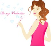 Valentine day card. Girl and soap bubbles in heart. Girl is pink clothes using a pink blower in heart shape for hearts soap bubbles. With sign Be my Valentine Stock Images