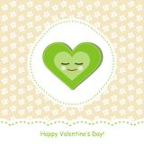 Valentine day card. Greeting card with green heart Royalty Free Stock Photo
