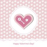 Valentine day card. Greeting card with pink heart Stock Photography