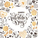Valentine day card. Happy Valentine day greeting card. Romantic frame from hearts, roses, birds and sweets with calligraphic phrase on white background Stock Photo