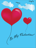 Valentine Day card with 2 heart ballon Stock Photos