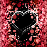 Valentine Day Card With Heart. Vector abstract bokeh background. Festive defocused lights Royalty Free Stock Image