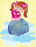 Valentine day card. little girl with heart. Valent Stock Photography