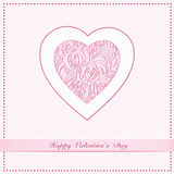 Valentine Day Card. With ornamental hearts and greeting text. Vector illustration Stock Image