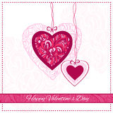 Valentine Day Card. With ornamental hearts and greeting text. Vector illustration Royalty Free Stock Photo