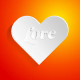 Valentine day card with paper heart. Valentine card with paper heart. Vector illustration Stock Photography